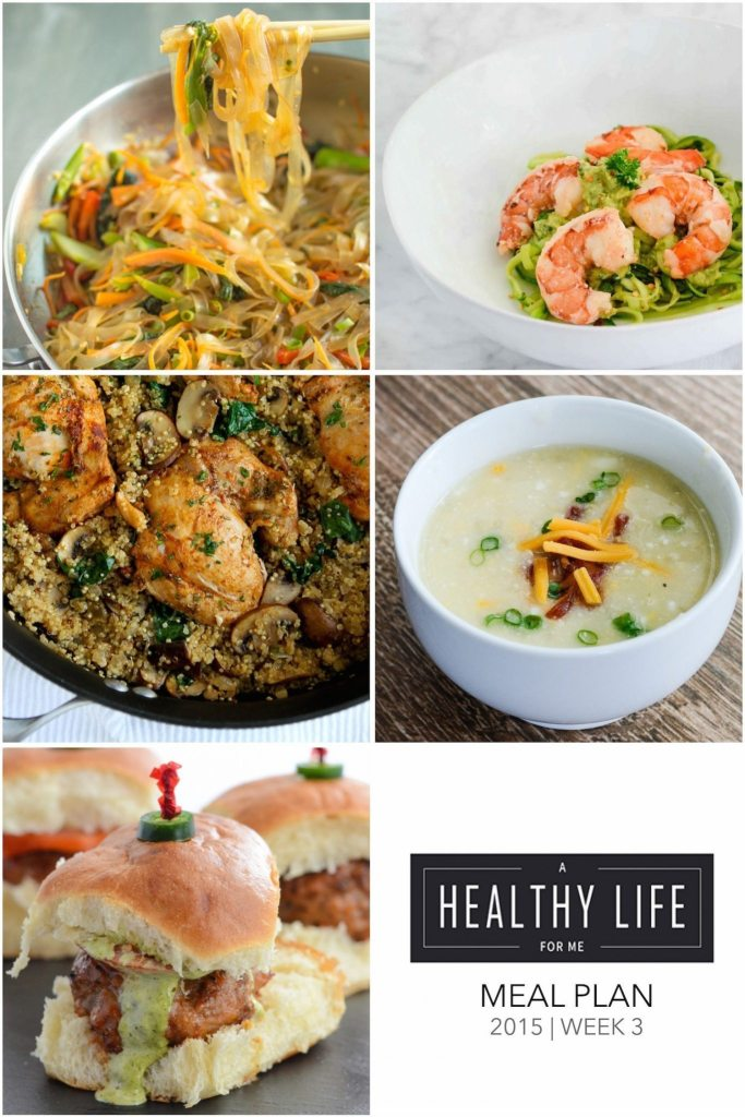 A healthy family friendly menu plan for five weeknight meals, and dessert idea. Each featured recipe includes link to complete recipe and a shopping list.