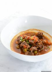 Paleo Lamb Stew is super simple to pull together and loaded with fall spices to give you a zesty, comforting, healthy, clean meal in one pot | ahealthylifeforme.com