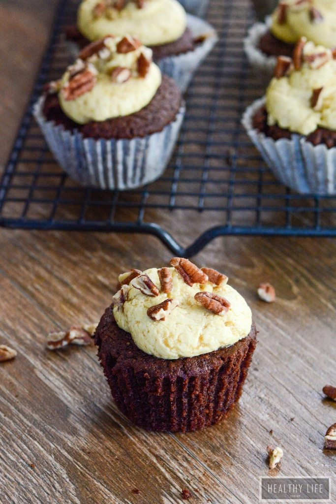 Gluten Free Chocolate bourbon Pecan Cupcakes with Coconut Maple Frosting Recipe | ahealthylifeforme.com