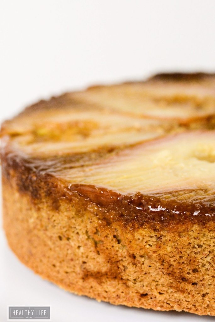 Gluten Free Pear Upside Down Cake a beautiful dense nutty flavored cake that is sweetened with the flavor of Bosc pears | ahealthylifeforme.com