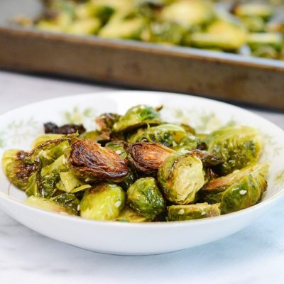 Maple Sesame Roasted Brussels Sprouts