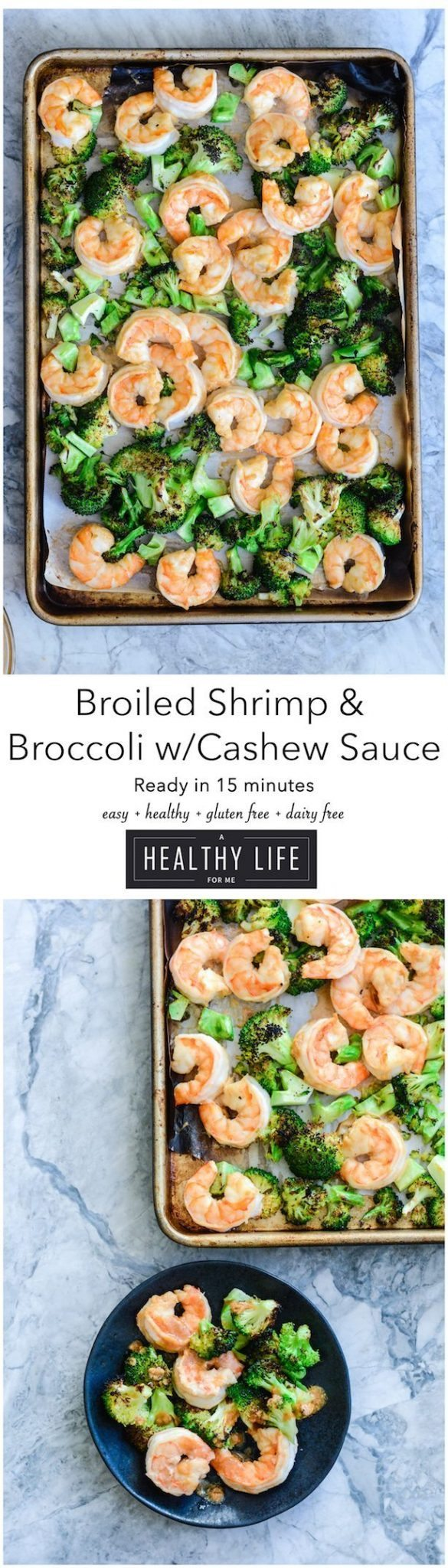 Broiled Shrimp and Broccoli with Cashew Sauce is gluten free dairy free healthy and ready in 15 minutes | ahealthylifeforme.com
