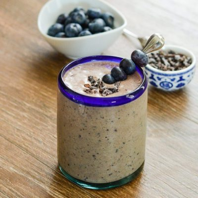 Double Chocolate Blueberry Protein Smoothie