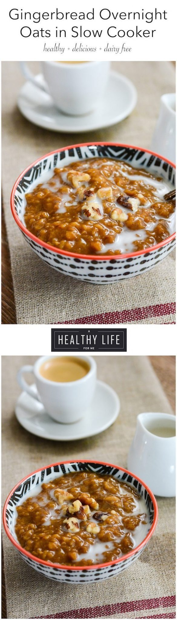 Gingerbread Overnight Oats cooked in Slow Cooker Recipe | ahealthylifeforme.com