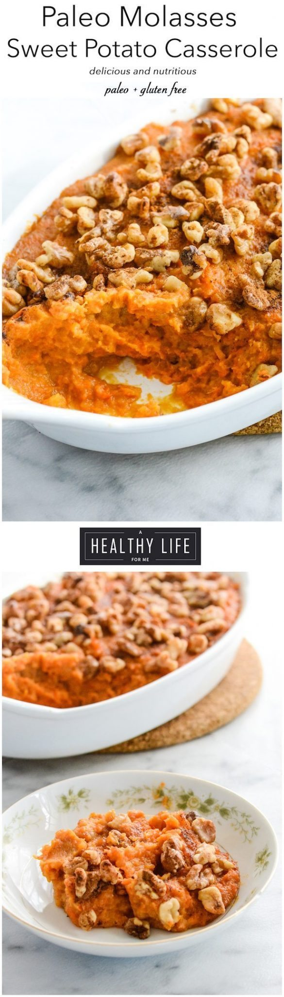 Paleo Molasses Sweet Potato Casserole Recipe Gluten Free | ahealthylifeforme.com
