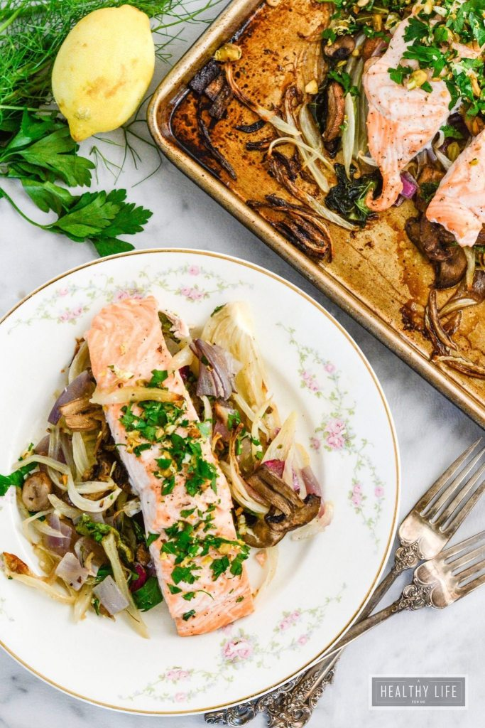 Roasted Salmon Fennel Bok Choy is a healhty gluten free dairy free ...
