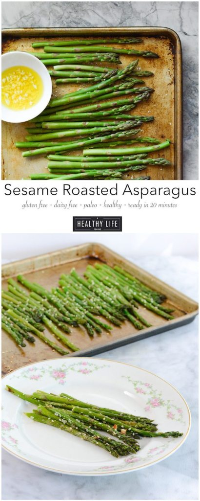 Sesame Roasted Asparagus a delicious healthy quick side dish that works perfectly paired with any protein | ahealthylifeforme.com