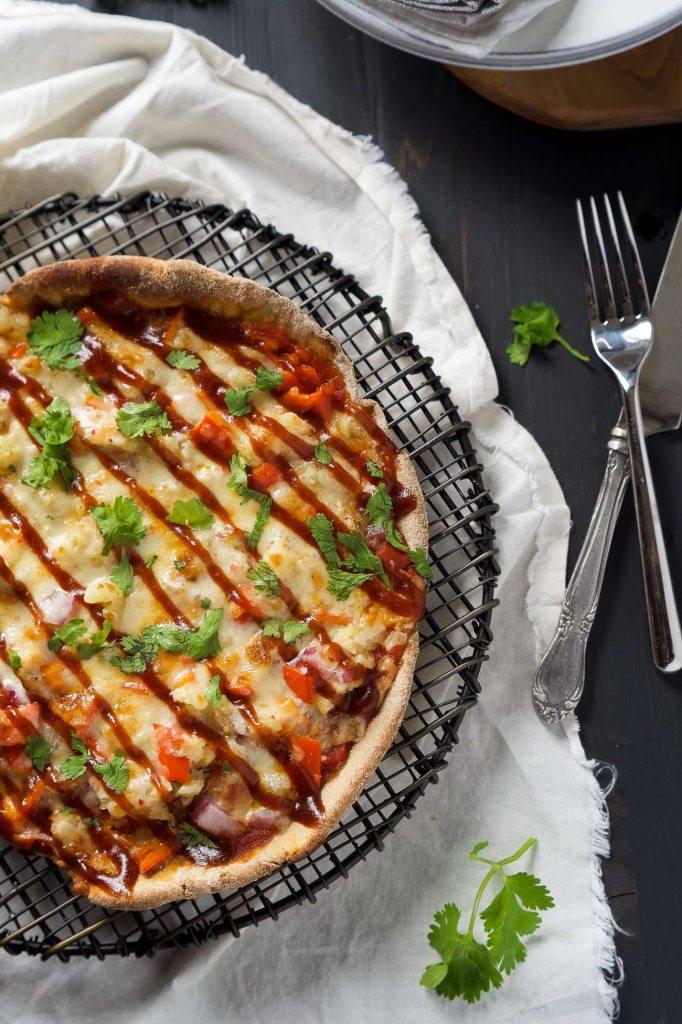 Cast Iron Skillet Chipotle BBQ Chicken Pizza |withsalt&wit