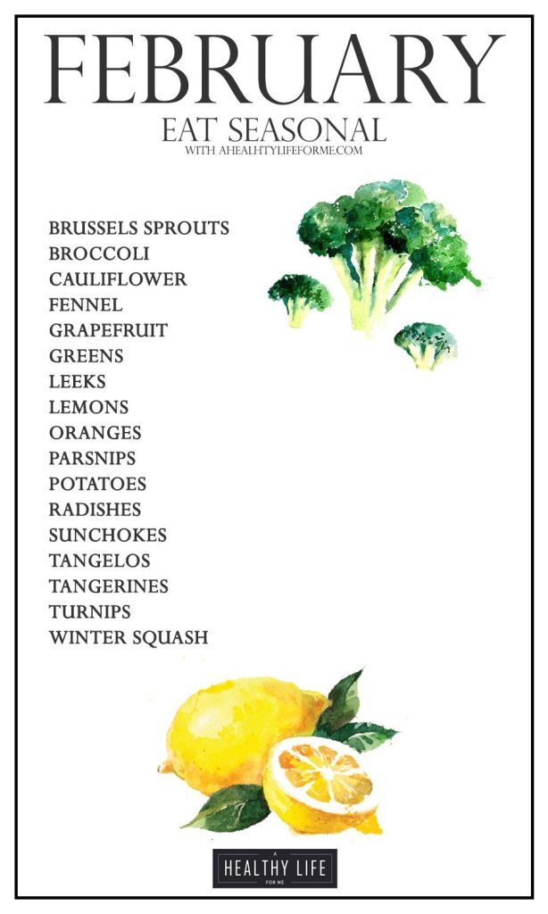 Eat Seasonal Produce Guide February | ahealthylifeforme.com