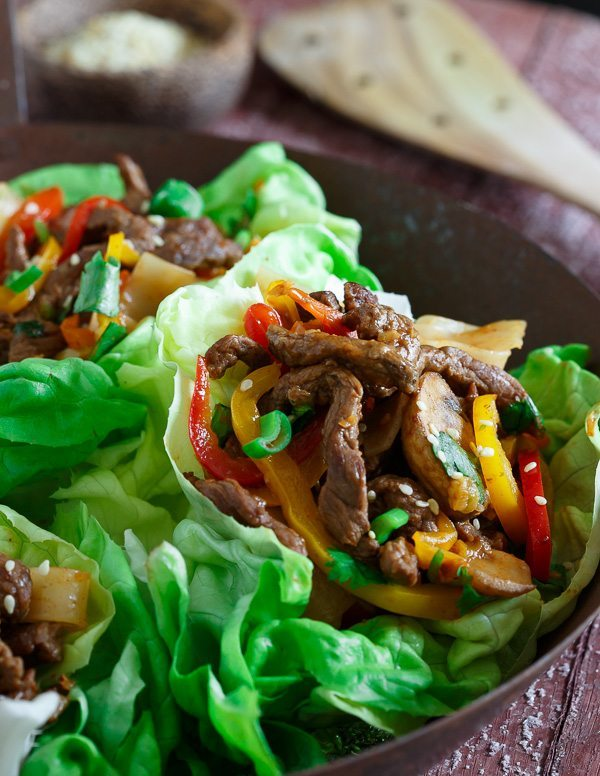 Korean Steak and Noodle Lettuce Cups
