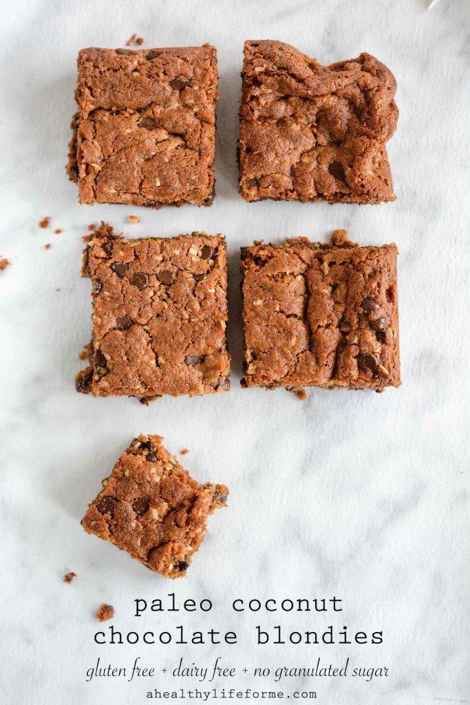 Paleo Coconut Chocolate Blondie Recipe | ahealthylifeforme.com