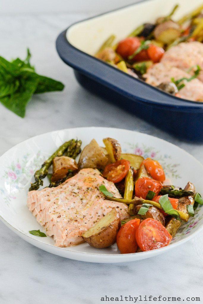 Paleo Roasted Salmon Potato Tomato and Asparagus Recipe | ahealthylifeforme.com