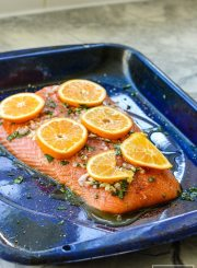 Roasted Salmon and Clementine Gluten Free Paleo High Protein dinner recipe   ahealthylifeforme.com