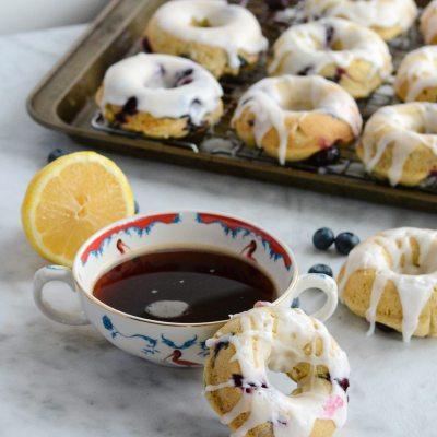 Gluten Free Lemon Blueberry Donuts {Dairy Free + Vegetarian}
