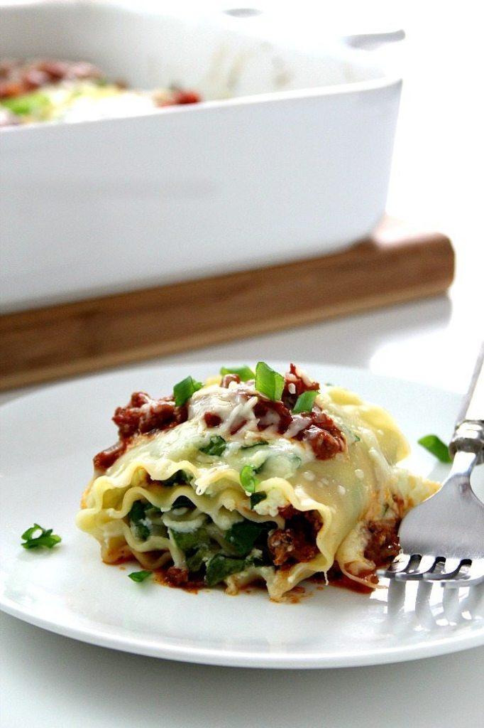 Spinach Lasagna Roll Ups | crunchycreamysweet.com