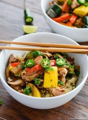 Healthy Paleo Chicken Stir Fry Recipe in your home kitchen in 30 minutes filled with pieces of organic chicken and loads of freshly diced vegetables. | ahealthylifeforme.com