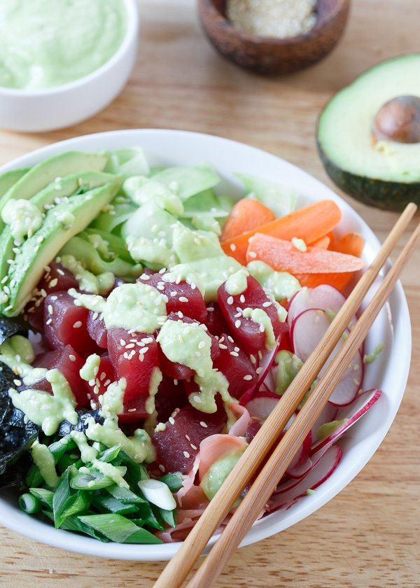 Tuna Sushi Bowl with Avocado Wasabi Dressing | runningtothekitchen.com