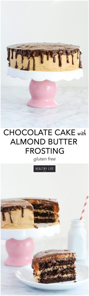 Chocolate Cake with three layers topped with Almond Buttercream Frosting and Chocolate Ganache Gluten Free Recipe | ahealthylifeforme.com