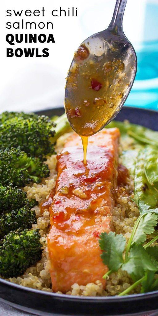 Sweet Chili Salmon and Broccoli Quinoa Bowl | sweetpeassaffron.com