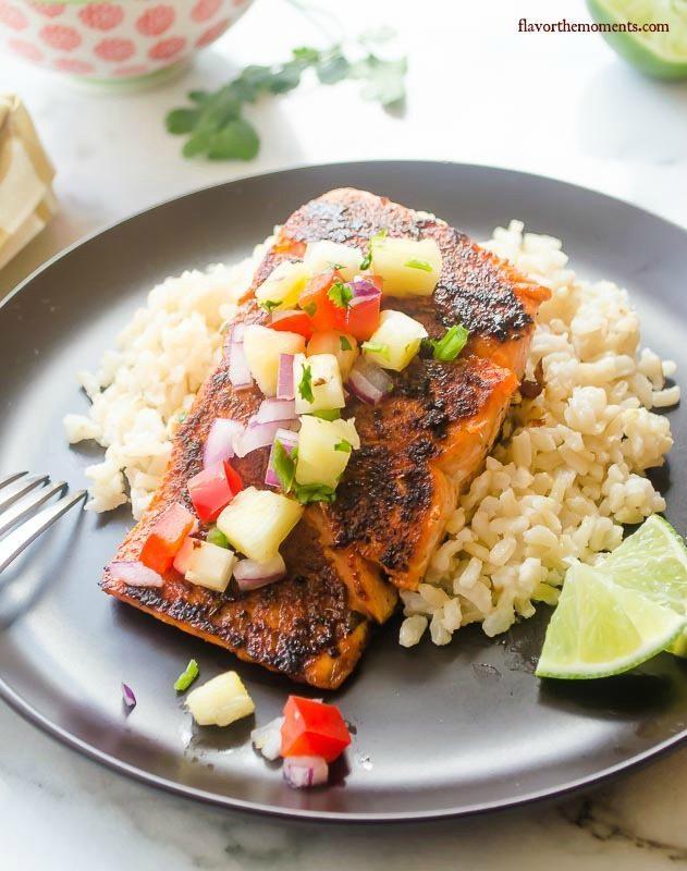 Blackened Salmon with Pineapple Salsa