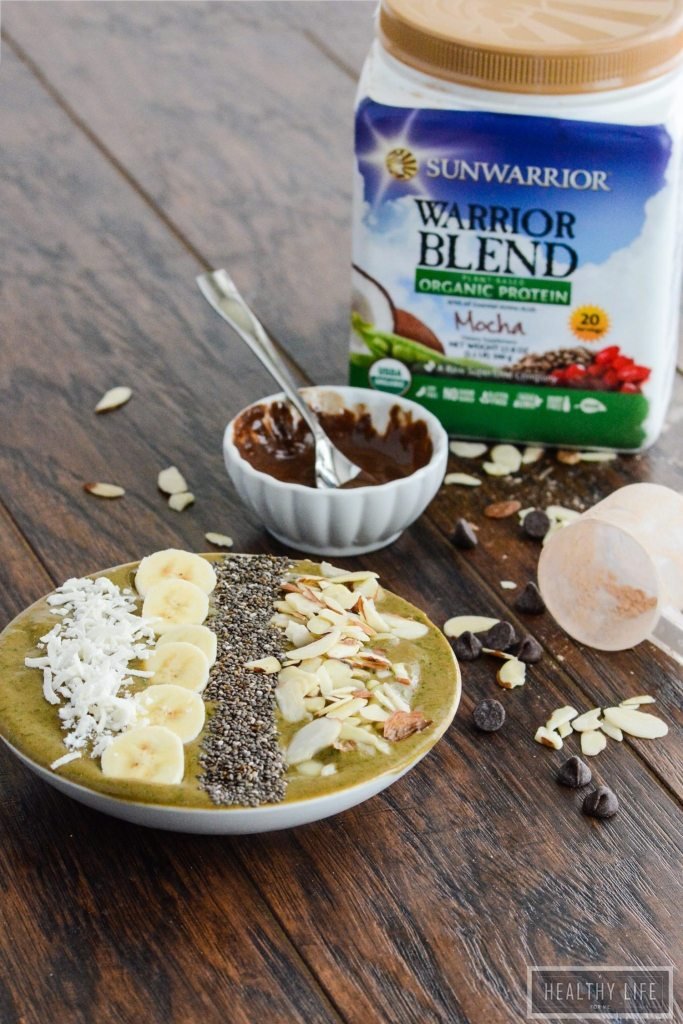 Mocha Banana Superfood Smoothie Bowl Dairy Free Vegan Recipe | ahealthylifeforme.com