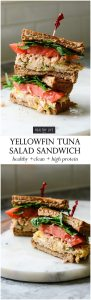 This Yellowfin Tuna Salad Sandwich made with high quality tuna, egg, dijon, a bit of spice all on top of a perfectly toasted piece of bread may be the best tuna salad sandwich ever. High protein, low calorie makes this is the perfect lunch or light dinner recipe | ahealthylifeforme.com