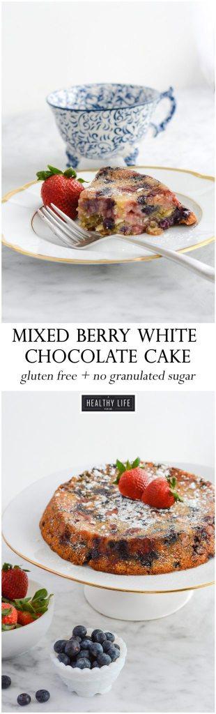 Gluten Free Dairy Free Mixed Berry White Chocolate Cake Recipe | ahealthylifeforme.com