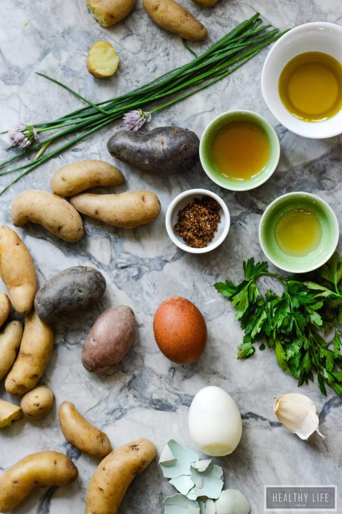 Red White Blue Potato Egg Salad is a creamy, tangy salad that can be made ahead of time. The perfect side to any cookout and perfect for enjoying while you celebrate the 4th of July   ahealthylifeforme.com