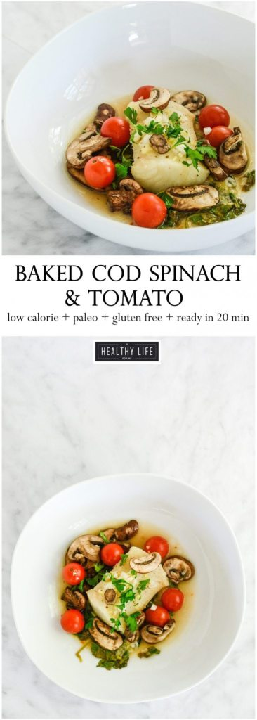 Gluten Free and Paleo friendly Baked Cod Spinach Tomato Packets is the perfect healthy, low-calorie dinner recipe with minimal mess, but tons of flavor | ahealthylifeforme.com