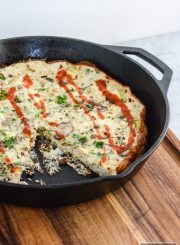 Leek Mushroom Egg White Frittata is the perfect high protein, low calorie, nutritious breakfast, snack or dinner option | ahealthylifeforme.com