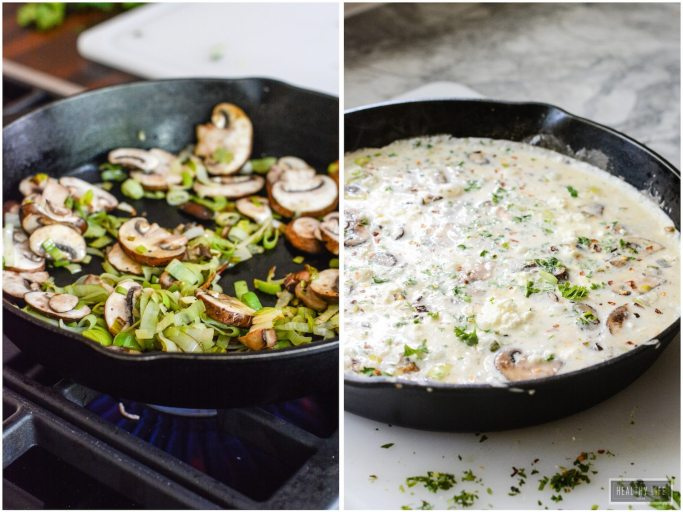 Leek Mushroom Egg White Frittata is the perfect high protein, low calorie, nutritious breakfast, snack or dinner option. | ahealthylifeforme.com