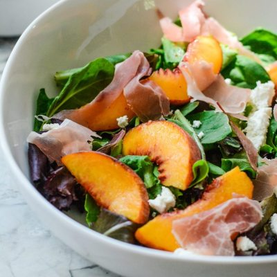 Peach Prosciutto Mixed Green Salad {gluten free}