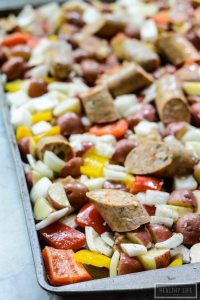 This Paleo One Pan Roasted Vegetable Sausage is a great weeknight family dinner recipe. It takes only minutes to prepare and uses one pan for cooking | ahealthylifeforme.com
