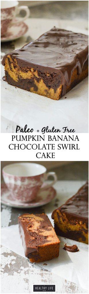 Paleo Pumpkin Banana Chocolate Swirl Cake is gluten free lightened up recipe   ahealthylifeforme.com