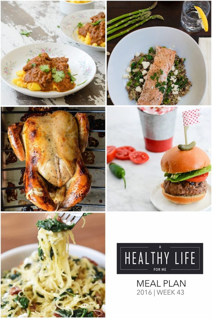 Weekly Meal Plan Week 42 | ahealthylifeforme.com