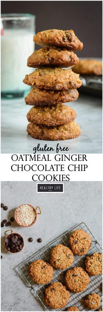 Gluten Free Oatmeal Ginger Chocolate Chip Cookie Recipe   ahealthylifeforme.com