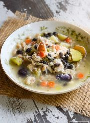 This Potato Bean Turkey Soup is the perfect way to use leftover turkey. A low calorie, high protein recipe that is gluten-free and can be made dairy free | ahealthylifeforme.com