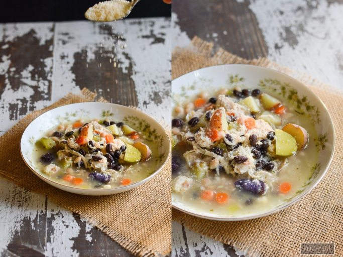 This Potato Bean Turkey Soup is the perfect way to use leftover turkey. A low calorie, high protein recipe that is gluten-free and can be made dairy free   ahealthylifeforme.com