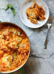 One Pot Broccoli Cauliflower Pasta Bake Recipe Gluten Free Vegetarian | ahealthylifeforme.com