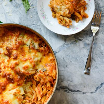 One Pot Broccoli Cauliflower Pasta Bake {gluten free + vegetarian}