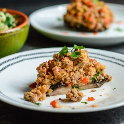 Paleo Spicy Turkey Stuffed Mushrooms