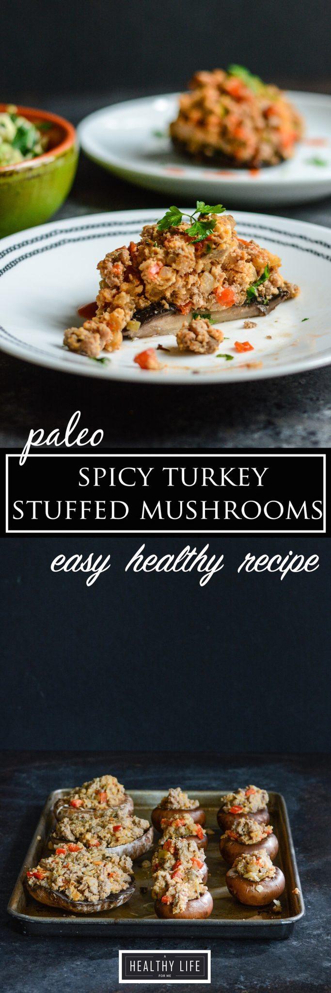 Paleo Spicy Turkey Stuffed Mushrooms Recipe | ahealthylifeforme.com