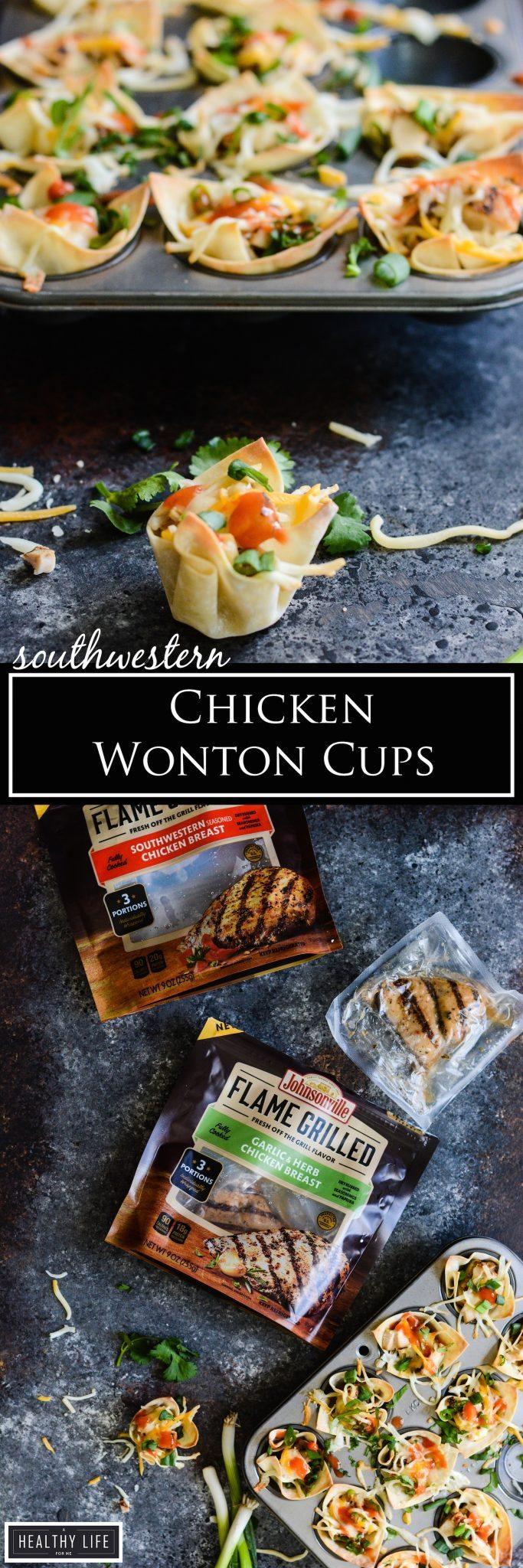 Southwestern Chicken Wonton Cups | ahealthylifeforme.com
