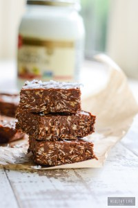 No Bake Peanut Butter Chocolate Coconut Bars | ahealthylifeforme.com
