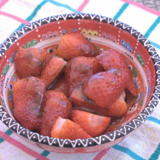 Summer strawberries with olive oil, basil & honey glaze