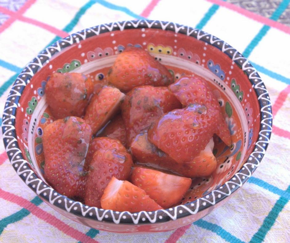 Summer #strawberries with olive oil, basil & #honey glaze #healthydesserts - ahedgehoginthekitchen.com