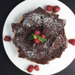 Chocolate ganache and raspberry caramel shortbread tart