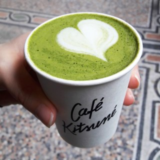 Matcha latte love at Maison Kitsune, Paris