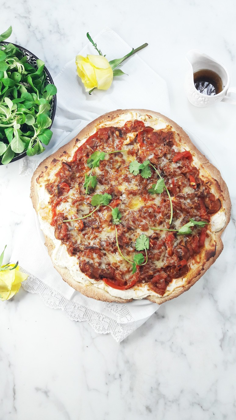 Wholewheat ratatouille pizza. Healthy comfort food filled with eggplant, zucchini and tomatoes. Topped with cilantro. | ahedgehoginthekitchen.com.