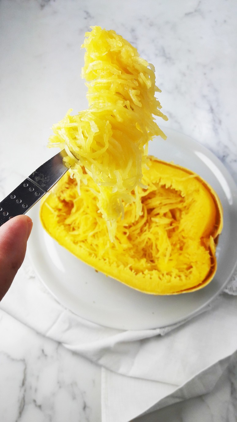 Spaghetti squash noodles. Gluten-free, tasty, surprising & beautiful. www.ahedgehoginthekitchen.com.
